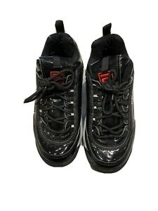 Black Patent Fila Disrupter Chunky Trainers Size 3