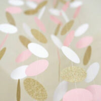 Pink White and Gold Glitter 10 FT Banner Circle Polka Dots Paper Garland Banner