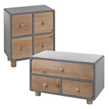 3 4 Grey & Brown Wooden Drawers Storage Boxes Shabby Chic Containers Bits & Bobs