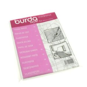 Burda Tissue Paper 110 x 150cm Ideal for Tracing Pattern Pieces Pack Of 5 Sheets