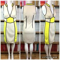 MARC CAIN Dress n3 UK 12 Cocktail Bodycon Plunge Colour Block Knit Yellow US 8