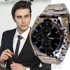 Hommes montre de quartz en acier inoxydable analogique MONTRE-bracelets
