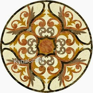 Round Marble Coffee Table Top Mosaic Art Patio Sofa Table for Decor 30 Inches