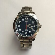Men's Timex Dress Watch Indiglo Feildstone Way Stainless Steel Band Silver Blue