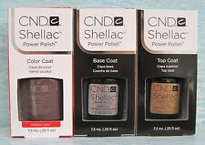 CND Shellac UV LED Gel Power Polish 3-pc Set RUBBLE BASE TOP COAT Authentic NIB