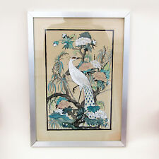 """L J Green Watercolour And Ink Peacock Painting Signed Framed 16"""" X 12"""""""