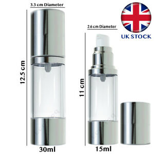 Airless Pump Bottles Reusable Refillable for Lotion Makeup Sanitisers Container