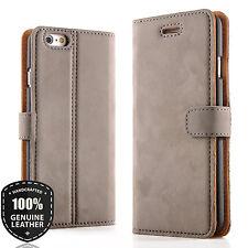 Premium Echtes Ledertasche Schutzhülle Wallet Flip Case Vintage Nubuk (Grau)
