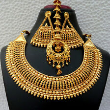 Indian 22K Gold Plated Bollywood Long Fashion Necklace Earrings Tikka Set