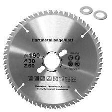 HM Multi Sägeblatt Ø190 x30 mm Universal Kreissägeblatt 60 Zähne 2 Reduzierringe