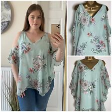 Wallis Mint Floral Lined Chiffon Cold Shoulder Hanky Hem Tunic Top 10 & 12 ONLY