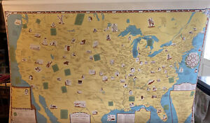 Denoyer-Geppert Pictorial Map 1952 Literary Development Of USA Original Canvas