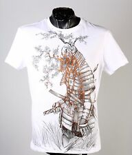 New Versace Jeans Warrior Print Short-Sleeve Tee T-Shirt in White  sz M