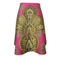 Ted Baker London Skirt Size 12 Gold Pink Paisley ALine Circle Sew In Love Jewels