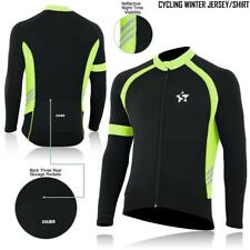Mens Cycling Jersey Long Sleeve Thermal Windstopper Full Zipper Bicycle Top