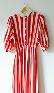 Vintage Red White Candy Stripe Secretary Collared Midi Dress Puff Sleeve VTG 38