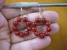 (EE-800-27) Red Bamboo Coral 6 mm beaded gemstone hoop dangle circle earrings