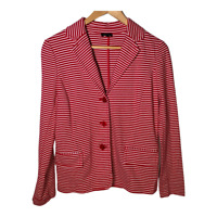 Talbots Womens Blazer Suit Jacket Coat Long Sleeves Button Striped Size Medium