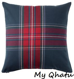"IKEA Pillow Cover Junhild PLAID Cushion Cover 20 x 20"" Blue Red Plaid Check New"