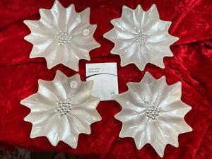 Princess House Exclusive #828 Holiday Poinsettia Dessert Plates Set of 4 NEW!!