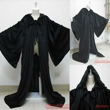 New Medieval Black Velvet Wizard Robes Hooded Cloak Cape Halloween Shawl Sca