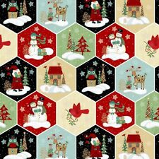 Christmas Fabric - Holly Jolly Hexagon Snowman Bird Tree - Studio E YARD