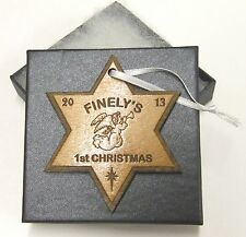 Personalised engraved Baby 1st Christmas bauble, christmas star keepsake