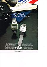 PUBLICITE ADVERTISING  1980   YEMA  montre  QUARTZ