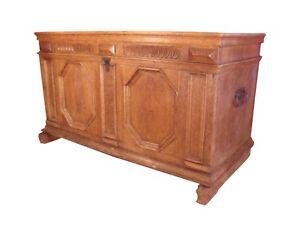 * Rhine Valley German Renaissance Large Oak Trunk Original Hardware