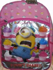 "MINIONS DISPICABLE ME CUPCAKES ""I DON'T SHARE"" SCHOOL BACKPACK NEW!"
