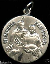 Saint Raphael Religious Pendent Sterling Silver