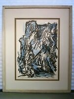 Mid Century NY Abstract Print Listed Elizabeth Erlanger Signed 1957