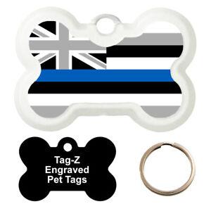 HAWAII BLUE LINE FLAG - CUSTOMIZED - PET TAG - BONE Shape - Tag-Z Dog Tags