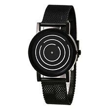 2017 new Unique Design Black Color Dial Stainless Steel Strap Mens Wrist Watch !