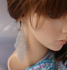 """""""Disco"""" orecchini lunghi Strass,zircone,cristalli,Da Donna,idea regalo Argento 2"""