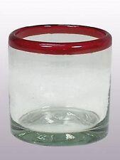 Mexican Glassware - Ruby Rim DOF - rock glasses (set of 6)