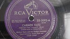 Jewish Yiddish 78rpm – Mickey Katz – RCA Victor #25-5092 Carmen Katz