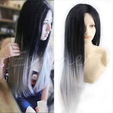 Fashion Women Long Straight Wig Hair Heat Resistant Black Ombre Grey 65cm