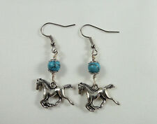 Cowgirl Earrings, Running Horse w/ Turquoise Gemstone, Tibetan Silver, Handmade
