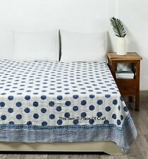 Hand Block Print Kantha Quilt Polka Dot kantha Bed Cover Indian Bedspread Throw