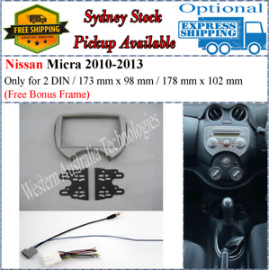 Harness + Fascia facia Fits Nissan Micra 2010-2013 Silver Double Two 2 DIN-