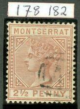 SG 9 Montserrat 1884-85 2½d red-brown WMK crown CA. Very fine used CAT £65...