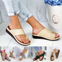 Women Comfy PU Slippers Wedge Soft Bottom Bunion Corrector Sandals Shoes
