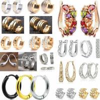 Women Crystal Ear Huggie Dangle Hoop Wedding Clip-On / Hook Earrings Jewelry