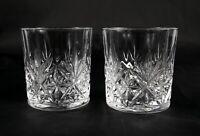 Pair Vintage French Lead Crystal Whisky Brandy Spirit Tumblers Glasses