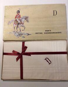 Vintage Box Of 3 Men's Cotton Handkerchiefs Initial D .In New Vintage Condition.