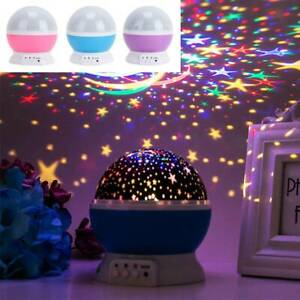 3 Color LED Rotating Night Light Projector Baby Bedroom Relax Mood Light