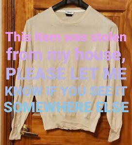 Versace mens Sweatshirt Sweater Shirt Pullover Top L-XL ivory cream with logo
