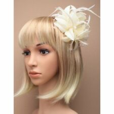 Ivory cream  fascinator with petals, pearls, and tendrils (beak clip and pin)
