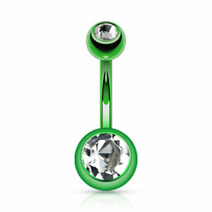 """Double Gems Navel Belly Button Ring Titanium Anodized Surgical Steel 14Ga 3/8"""""""